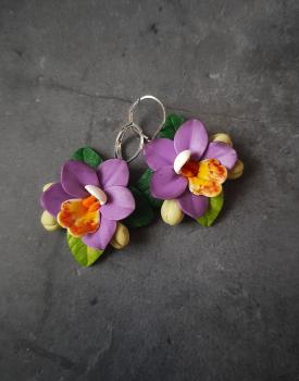 """Auskari """"Orhidejas"""" violetas"""